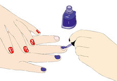 Proof of nail polish in a beauty salon Stock Images