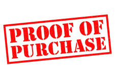 PROOF OF PURCHASE Stock Image