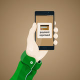 Proof of purchase. Electronic payments. Hand with phone vector illustration in flat style. Stock Photography