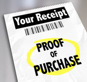 Proof of Purchase Your Receipt Buying Products Store Barcode. Proof of Purchase words on a paper receipt with barcode from a store or seller of products you Stock Photography