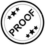 Proof stamp. Text 'proof' in grunge uppercase black letters with 3 stars above and below, all within a circle created by a rubber stamp Stock Photo