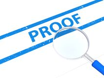 Proof. Text 'proof' in blue uppercase letters between blue bands with hand magnifier alongside, white background Stock Photos