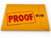 Proof Word Yellow Envelope Verification Evidence Testimony Royalty Free Stock Photos