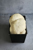 Proofing braided brioche dough on a pan Stock Photography