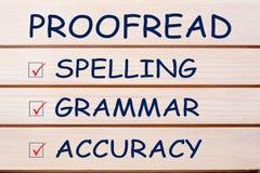 Proofread Literujący gramatyki dokładność zdjęcia royalty free