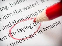 Proofreading esejów błędy Zdjęcia Stock
