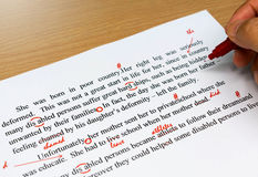 Proofreading sheet on table Stock Image