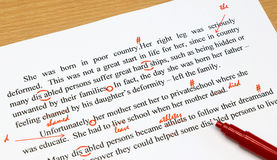 Proofreading sheet on table Stock Images
