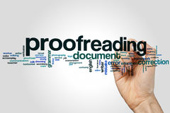 Proofreading word cloud. Concept on grey background Royalty Free Stock Photography