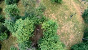 Propósito aéreo de activar en el parque Vertical, de arriba hacia abajo almacen de metraje de vídeo