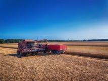 Propósito aéreo de la cosecha mecánica de la agricultura de la máquina segadora Fotografía de archivo
