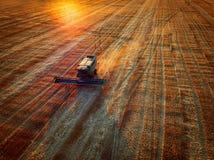 Propósito aéreo de la cosecha mecánica de la agricultura de la máquina segadora Imagen de archivo
