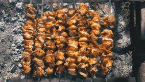Propósito superior de preparar kebabs en los pinchos sobre un fuego en naturaleza metrajes