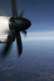 Prop. Airplane prop with view of horizon and land below Royalty Free Stock Photos