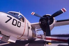 Prop aircraft. A military prop plane and engine against the blue sky stock images