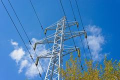 Prop overhead transmission line. Structure for holding wires - ground wire overhead power lines and fiber-optic communication line at a predetermined distance Stock Images