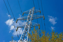 Prop overhead transmission line. Structure for holding wires - ground wire overhead power lines and fiber-optic communication line at a predetermined distance Stock Photos