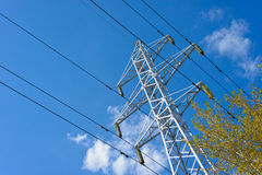 Prop overhead transmission line. Structure for holding wires - ground wire overhead power lines and fiber-optic communication line at a predetermined distance Royalty Free Stock Photos
