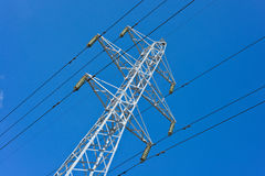 Prop overhead transmission line. Structure for holding wires - ground wire overhead power lines and fiber-optic communication line at a predetermined distance Stock Image