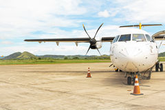 Prop Plane on Tarmac at Island Airport Royalty Free Stock Image