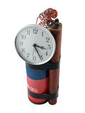 Prop Time Bomb. Vintage prop time bomb with large clock and sticks of dynamite Stock Photo