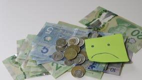 Propagação canadense do dinheiro no fundo branco com várias denominações conceito do orçamento, investindo ou pagar do imposto fotografia de stock royalty free