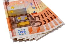 Propagação das notas da moeda do Euro 50 isolada Fotos de Stock
