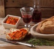 Propagação mediterrânea da carne de Nduja ou de sobrasada Fotos de Stock Royalty Free