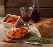 Propagação mediterrânea da carne de Nduja ou de sobrasada Imagem de Stock Royalty Free
