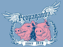 Propaganda. Abstract illustration of two pig heads and the word propaganda Royalty Free Stock Image