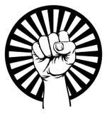 Propaganda aumentada pu?o retro del aire de la mano de la revoluci?n stock de ilustración