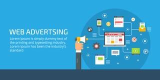 Propaganda da Web, homem de negócios que guardam o megafone, mercado em linha e conceito digital da promoção Ilustração lisa do v ilustração do vetor