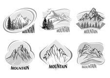 Propaganda de montanhas do vintage e de máscaras cinzentas ilustração royalty free