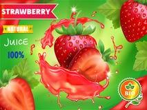 Propaganda do suco da morango Projeto de pacote doce do suco das bagas Imagem de Stock