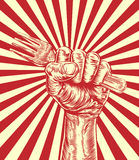Propaganda Fork Woodcut Fist Hand Royalty Free Stock Images