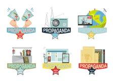 Propaganda Icons Set Stock Photography