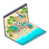 Propaganda isométrica do recurso nos maldives em um portátil, um conceito de anúncio brilhante do curso um hotel luxuoso ilustração royalty free