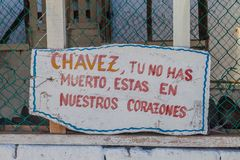 Propaganda near Baracoa, Cuba. It says: Chavez, you did not die, you are staying in ou heart. S stock images