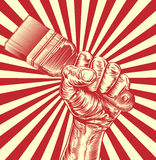 Propaganda Paintbrush Woodcut Fist Hand Royalty Free Stock Photo