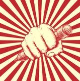 Propaganda Pencil Fork Woodcut Fist Stock Images