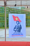 A propaganda poster about protecting the Spratly islands in the square in Vietnam. Nha Trang, Vietnam - July 11, 2015: A propaganda poster about protecting the royalty free stock photos