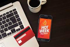 Propaganda quente da semana no smartphone Imagens de Stock Royalty Free