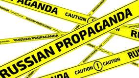 Propaganda rusa Precaución Cintas amonestadoras amarillas ilustración del vector
