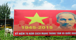 A propaganda with Uncle Ho at countryside in Phu Quoc, Vietnam.  royalty free stock images