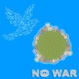 Propagandaaffiche die vrede in alle landen verzoeken, is er geen oorlog Stock Foto's