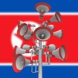 Propagandamegafoner från illustration för Nordkorea diktator 3d stock illustrationer