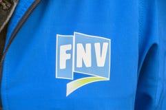 Propagandas de FNV em Amsterdão o 2018 holandês imagens de stock royalty free