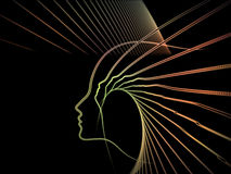 Propagation of Soul Geometry. Geometry of Soul series. Design composed of profile lines of human head as a metaphor on the subject of education, science Stock Images