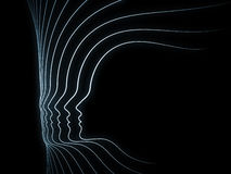 Propagation of Soul Geometry. Geometry of Soul series. Design composed of profile lines of human head as a metaphor on the subject of education, science Royalty Free Stock Images