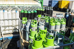 Propane bottles ready to transport Stock Photo